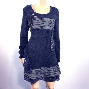 c222b169339 SIMPLY COUTURE BLUE Lace SWEATER DRESS L NEW